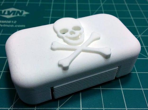 DJI Phantom 2 Battery Door - Skull & Cross Bones in White Natural Versatile Plastic