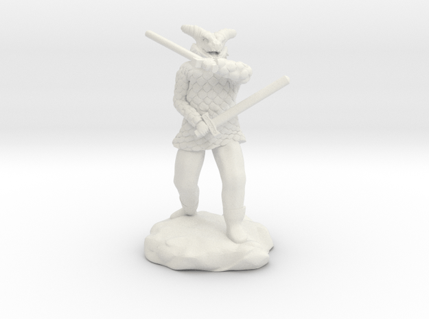 Dragonborn in Scale Mail With Swords and Bow  in White Natural Versatile Plastic