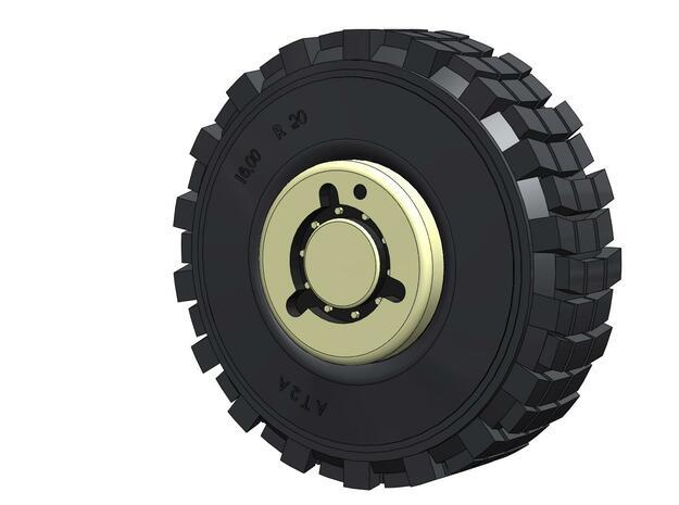 Batman HEMTT Tire & Wheel 1/6 Scale in White Natural Versatile Plastic