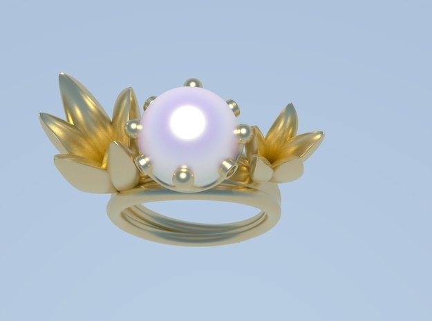Peace and Pearls in 18k Gold Plated Brass: 7 / 54