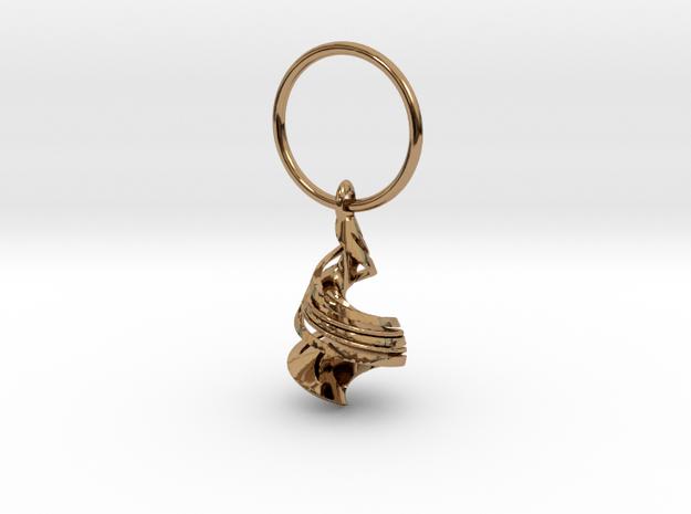 Orange Peel Hanging In Space in Polished Brass (Interlocking Parts): Medium