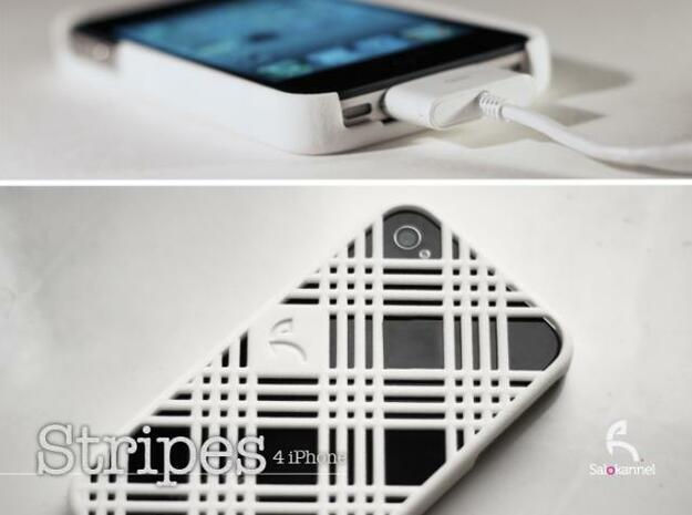 Stripes - case for iPhone 4/4s in White Processed Versatile Plastic
