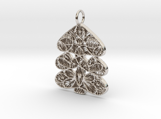 Christmas Tree Holdiday Lace Pendant Charm in Rhodium Plated Brass
