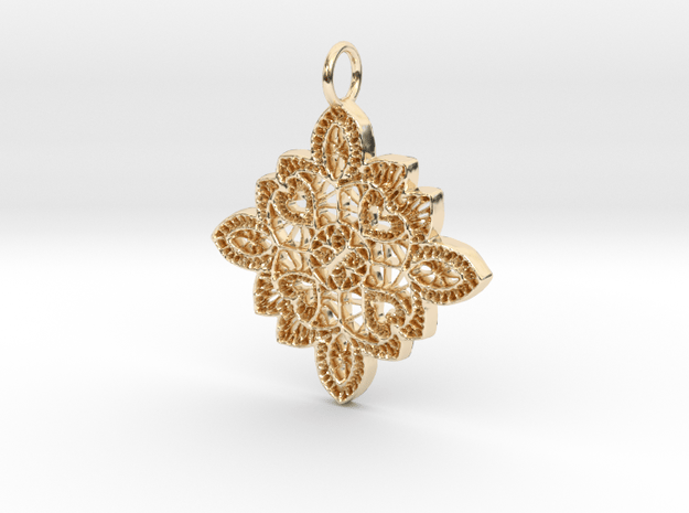 Lace Ornament Pendant Charm in 14k Gold Plated Brass