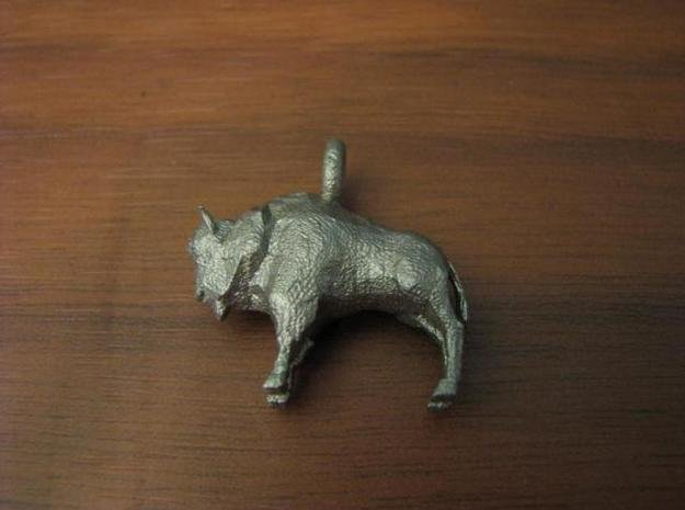 Bison Pendant in Polished Bronzed Silver Steel