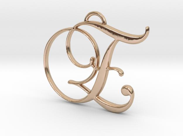 Elegant Script Monogram E Pendant Charm in 14k Rose Gold Plated Brass