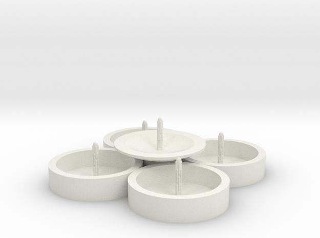 Zierbrunnen rund fünfgeteilt mit 5 Fontainen in White Natural Versatile Plastic