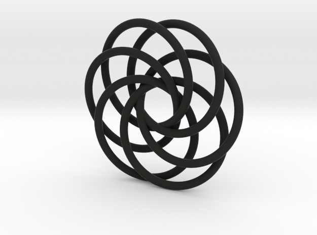 Interlocking Loops Pendant in Black Natural Versatile Plastic