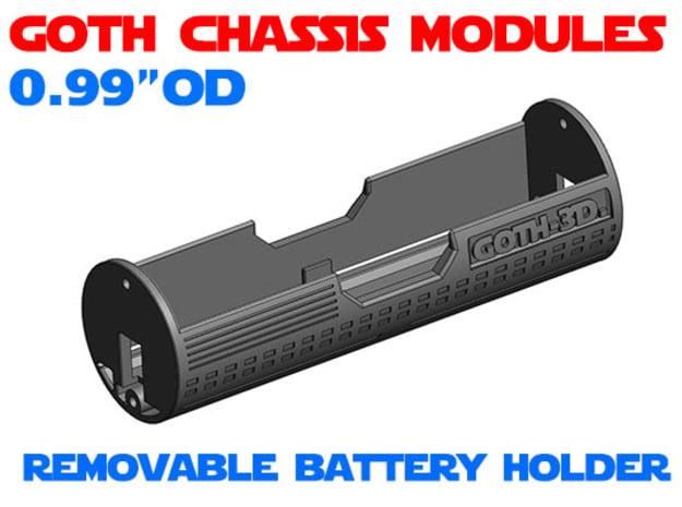 GCM099 - Removable battery holder chassis in White Natural Versatile Plastic