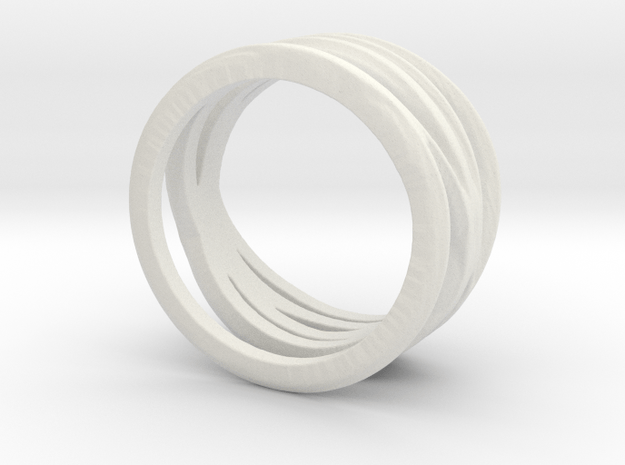 Lines Overlapping Ring Size 6.5 in White Natural Versatile Plastic