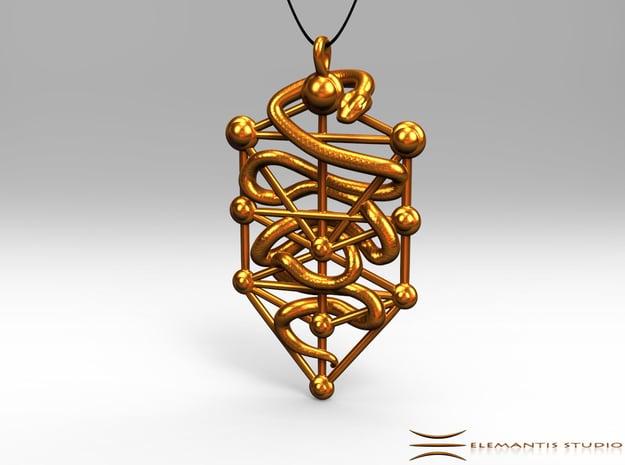 Kabbalah Serpent Pendant 6.5cm in Natural Brass