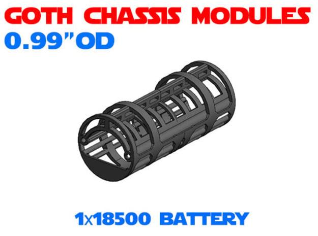 GCM099 - 18500 Battery chassis  in White Natural Versatile Plastic