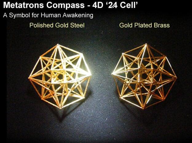 4D Vector Equilibrium Metatron's Compass 50mm -  in Natural Brass