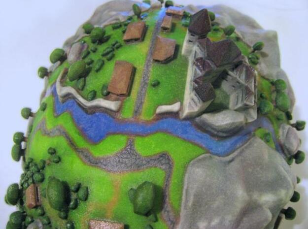 Microcosmic Head Village in Full Color Sandstone