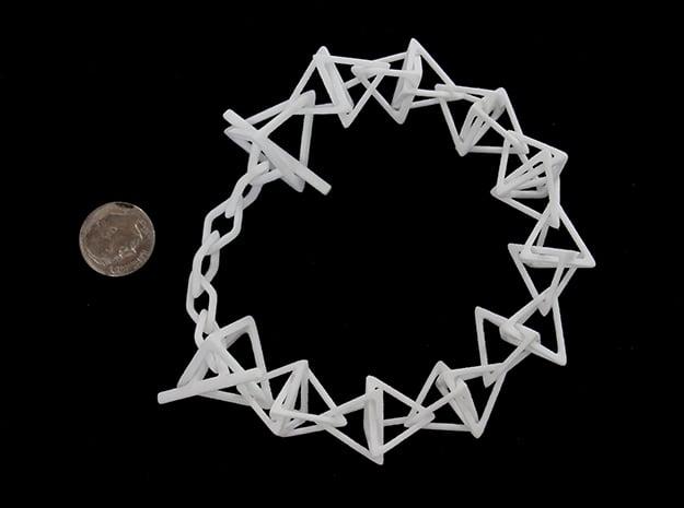 Tetrahedron Chain Bracelet in White Processed Versatile Plastic