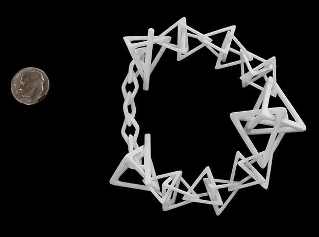Tetrahedron Interlink Bracelet in White Processed Versatile Plastic