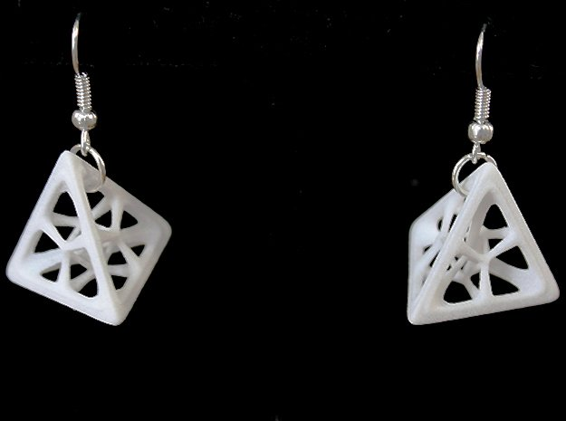 Tetrahedron Earrings in White Processed Versatile Plastic