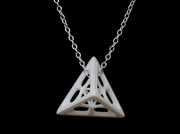 Tetrahedron Pendant in White Processed Versatile Plastic