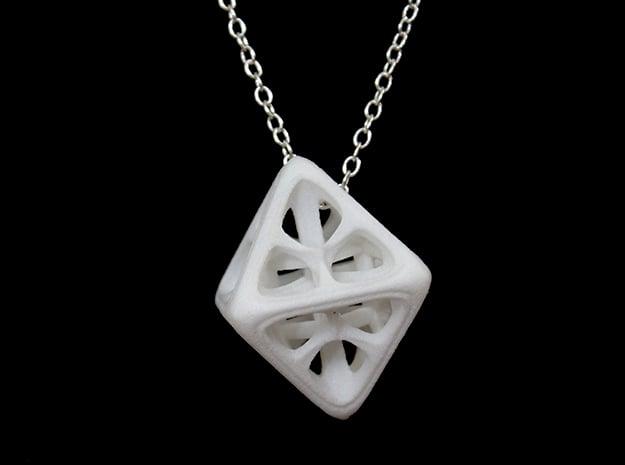 Octahedron Pendant in White Processed Versatile Plastic