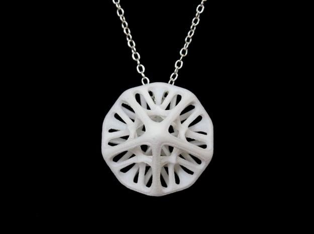 Decahedron Pendant in White Processed Versatile Plastic