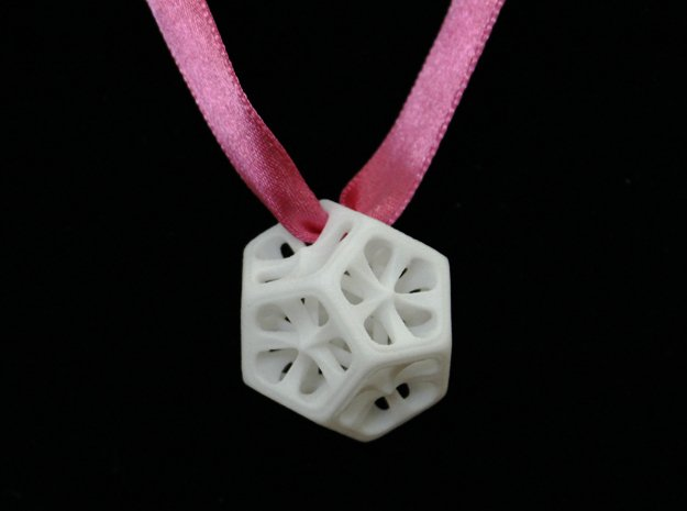 Dodecahedron Pendant in White Processed Versatile Plastic