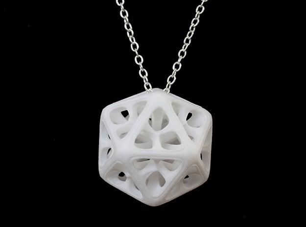 Icosahedron Pendant in White Processed Versatile Plastic