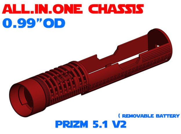 """ALL.IN.ONE - 0.99""""OD - PRIZM 5.1 V2 in White Natural Versatile Plastic"""