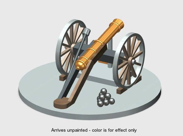 Cannon-3 (O) Scale in White Natural Versatile Plastic: 1:48 - O