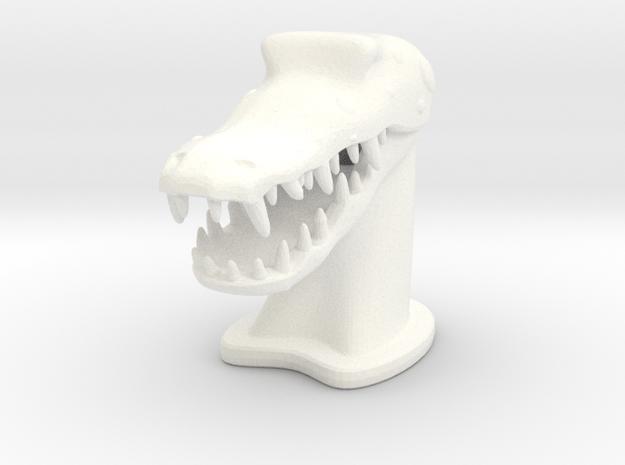 Crocodile SMALL in White Processed Versatile Plastic