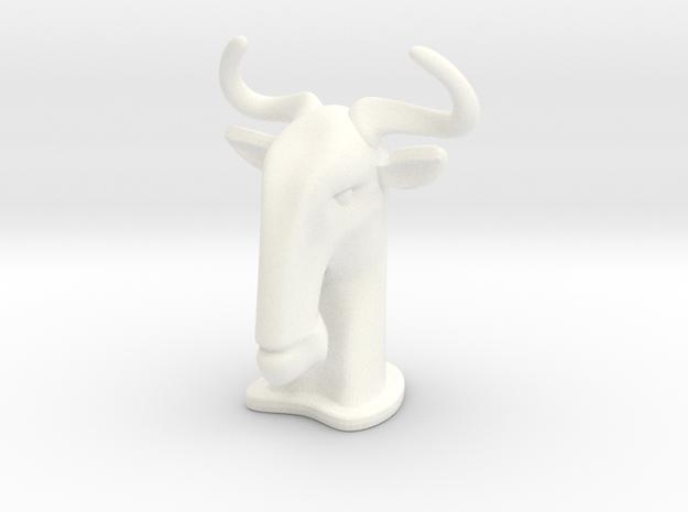 Wildebeest SMALL in White Processed Versatile Plastic