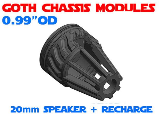 GCM099 - 20mm speaker + recharge port combo in White Natural Versatile Plastic