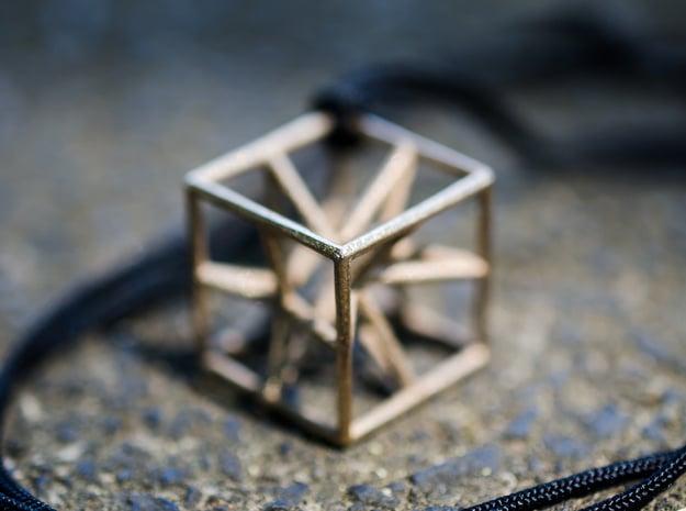 """starcube"" pendant in Polished Bronzed Silver Steel"