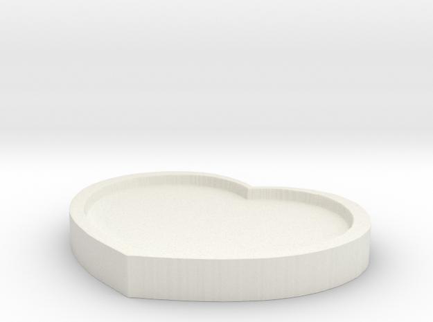 Heart Pad - 8CM Wide in White Natural Versatile Plastic