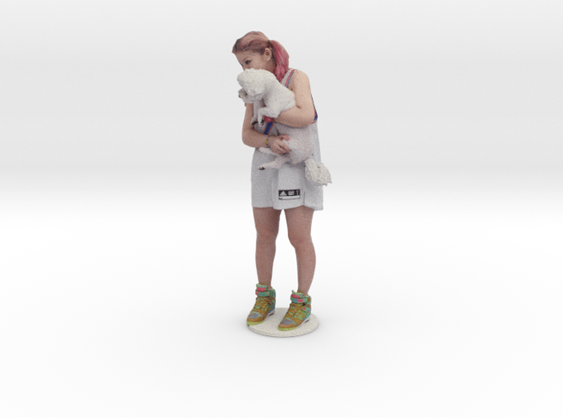Scanned Pretty Girl and dog in Full Color Sandstone