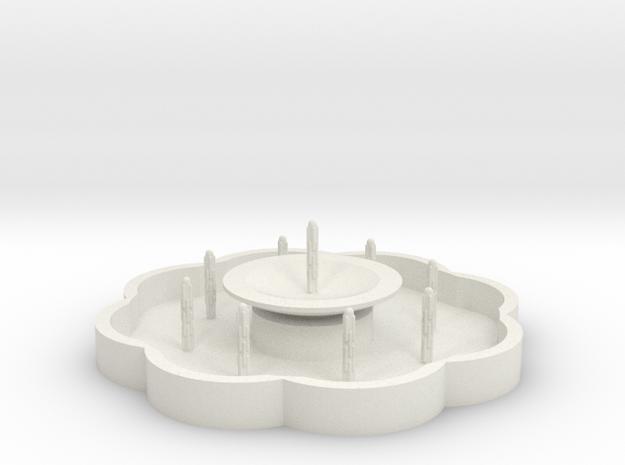 Zierbrunnen mit 9 Fontainen - 1:120 in White Natural Versatile Plastic