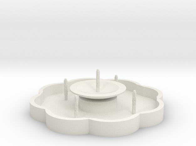 Zierbrunnen mit 5 Fontainen - 1:120 in White Natural Versatile Plastic