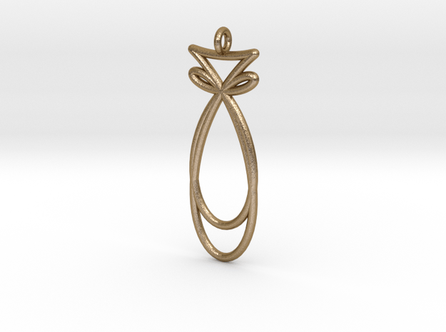 Fish Curve Pendant in Polished Gold Steel