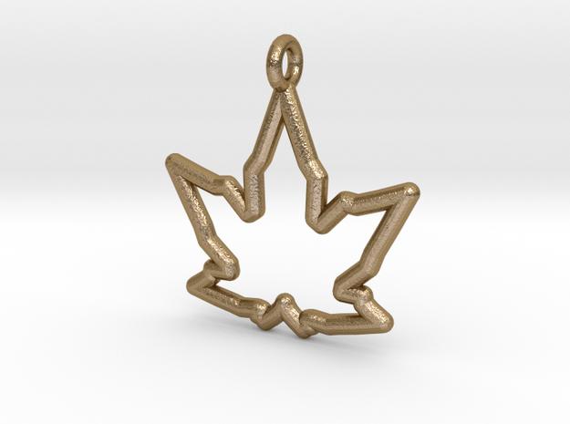 Leaf Curve Pendant in Polished Gold Steel