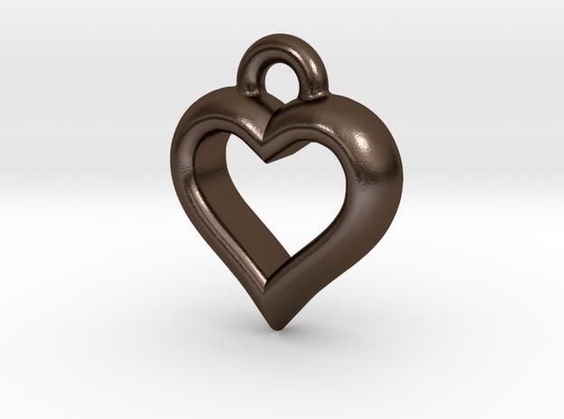 Hearty Little Heart (steel_pendant) in Polished Bronze Steel