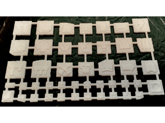 Primative Scrap Metal Glyphs Set in White Natural Versatile Plastic
