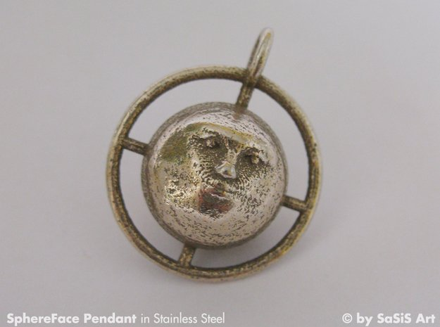 SphereFacePendant in Polished Bronzed Silver Steel