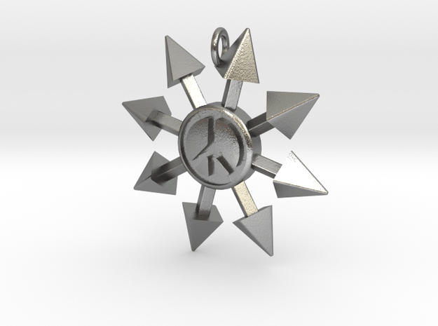 Chaos Star with Peace symbol in Natural Silver