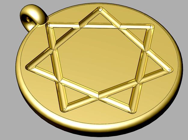 heptastar pendant in Polished Gold Steel