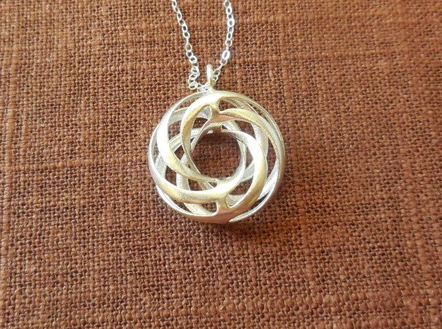 Twisted Torus Pendant in Precious Metals in Polished Silver