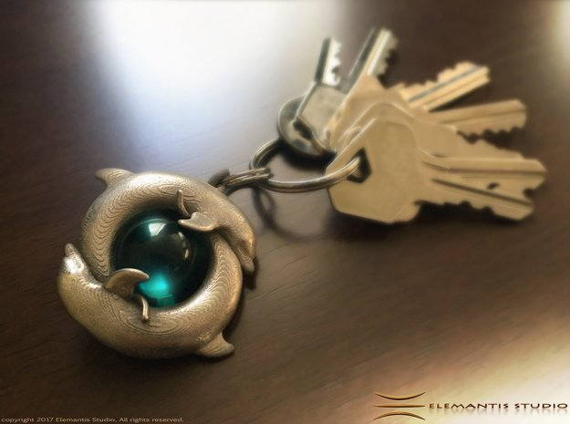 Piscean / Yin Yang Dolphin Totem Keychain 4.5cm in Polished Nickel Steel