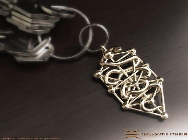 Kabbalah Serpent Keychain 4.5cm in Natural Brass