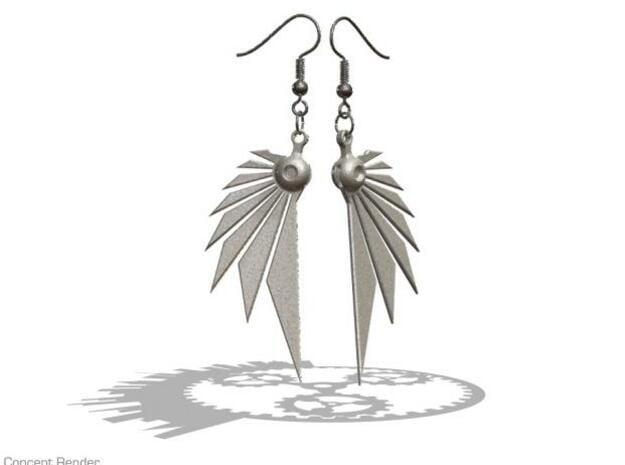 Bladewing Earrings - Fish Hooks in Polished Bronzed Silver Steel