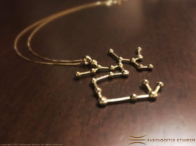 Sagittarius Zodiac Constellation Pendant in Polished Brass
