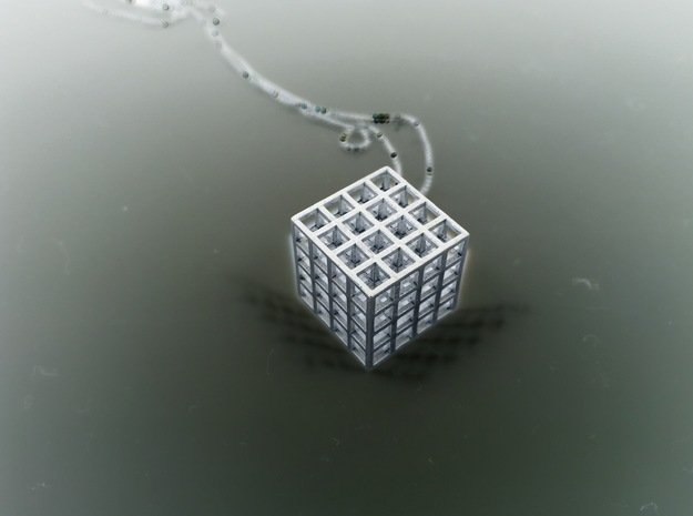 Mesh Cube Necklace  in Natural Silver