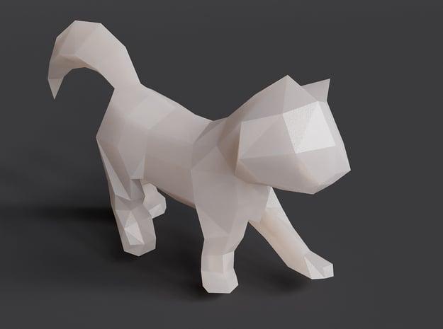 Polygon Kitten Sculpture in White Natural Versatile Plastic